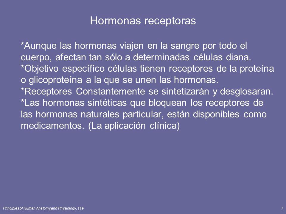 Principles of Human Anatomy and Physiology, 11e18 Acción de Lipid Soluble - Hormonas *Difunde a través de la hormona de fosfolípidos bicapa y en las células *Se une a los receptores de encender / apagar genes específicos *Nueva ARNm se forma y dirige la síntesis de nuevas proteínas *Nueva proteína altera la actividad de las células