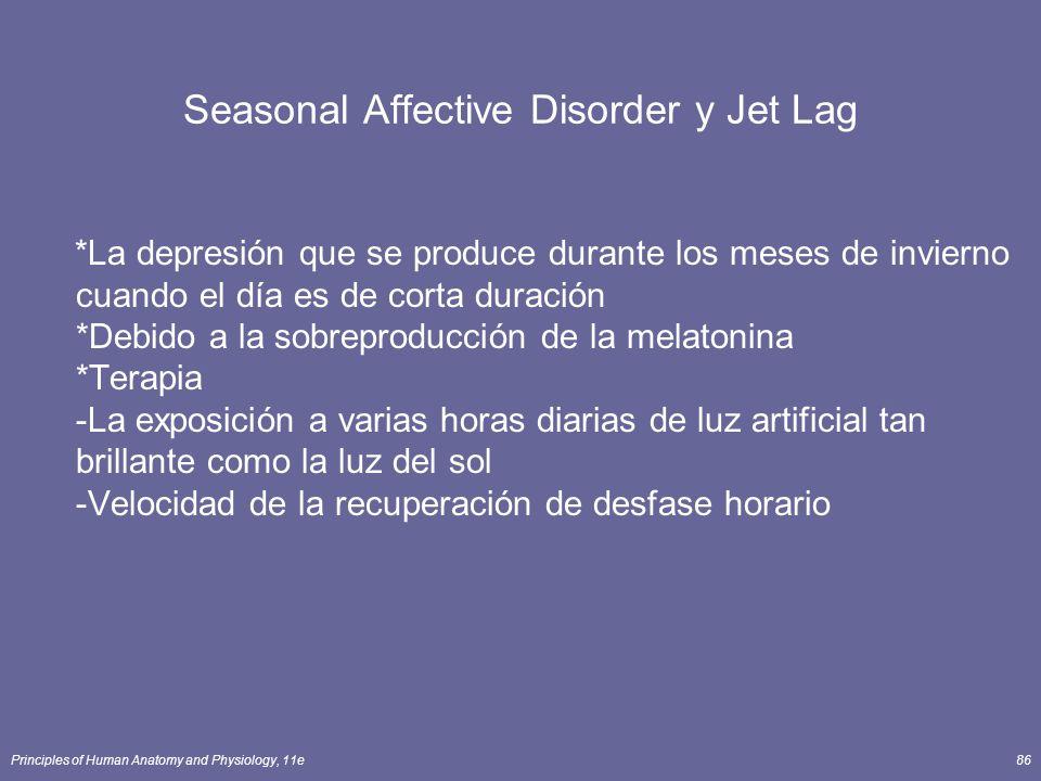Principles of Human Anatomy and Physiology, 11e86 Seasonal Affective Disorder y Jet Lag *La depresión que se produce durante los meses de invierno cua