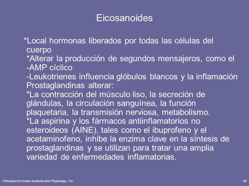 Principles of Human Anatomy and Physiology, 11e89 Eicosanoides *Local hormonas liberados por todas las células del cuerpo *Alterar la producción de se