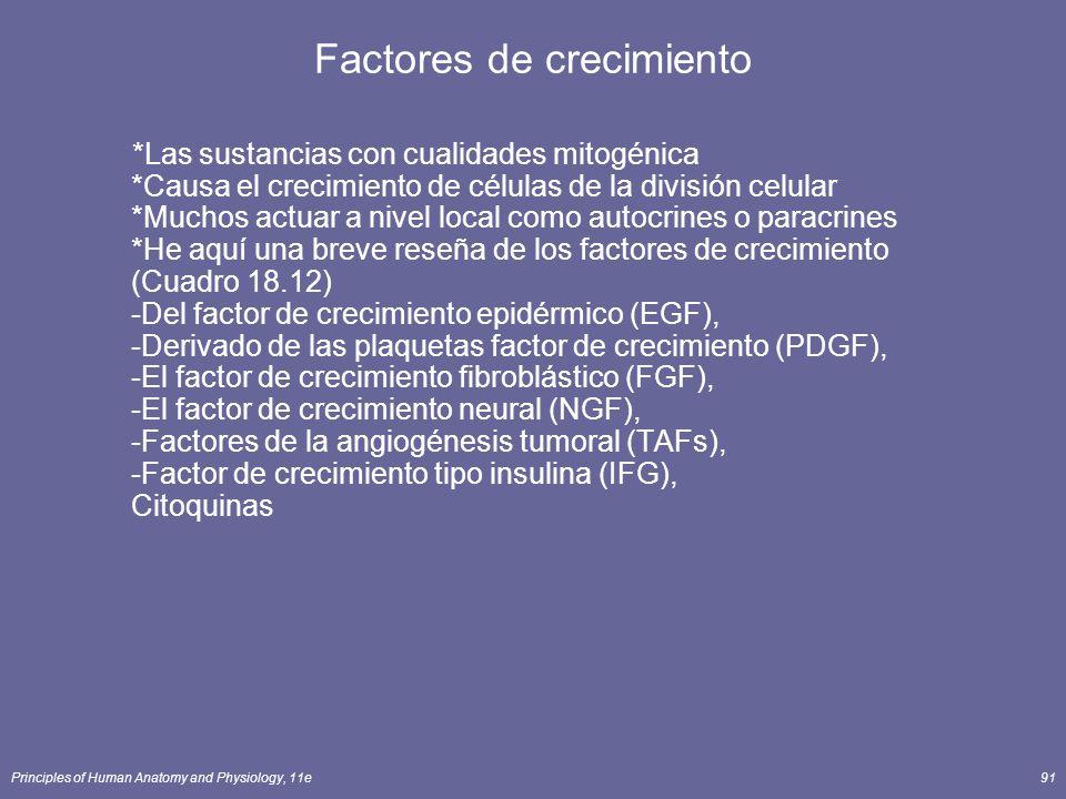 Principles of Human Anatomy and Physiology, 11e91 Factores de crecimiento *Las sustancias con cualidades mitogénica *Causa el crecimiento de células d