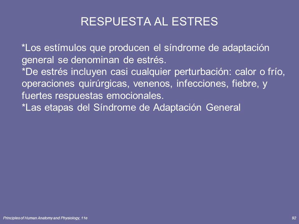 Principles of Human Anatomy and Physiology, 11e92 RESPUESTA AL ESTRES *Los estímulos que producen el síndrome de adaptación general se denominan de es