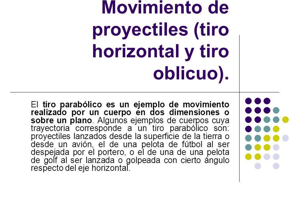 Subtema 1.3.2. Movimiento de proyectiles (tiro horizontal y tiro oblicuo). El tiro parabólico es un ejemplo de movimiento realizado por un cuerpo en d