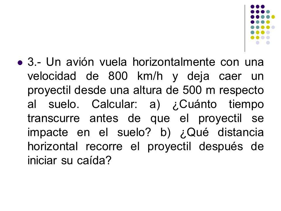 3.- Un avión vuela horizontalmente con una velocidad de 800 km/h y deja caer un proyectil desde una altura de 500 m respecto al suelo. Calcular: a) ¿C