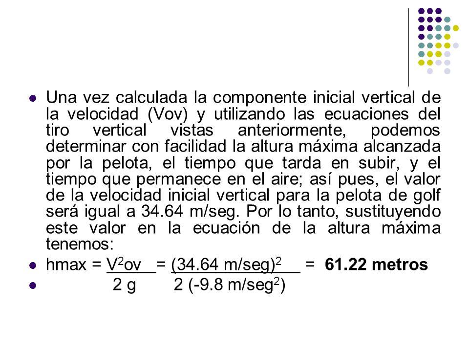Una vez calculada la componente inicial vertical de la velocidad (Vov) y utilizando las ecuaciones del tiro vertical vistas anteriormente, podemos det