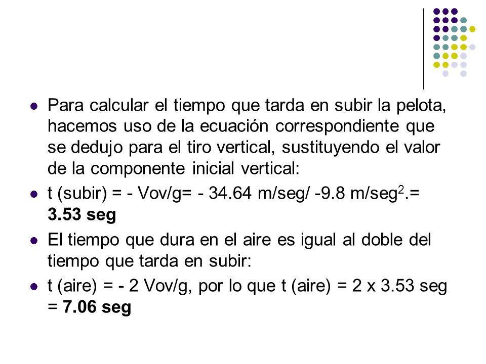 Para calcular el tiempo que tarda en subir la pelota, hacemos uso de la ecuación correspondiente que se dedujo para el tiro vertical, sustituyendo el