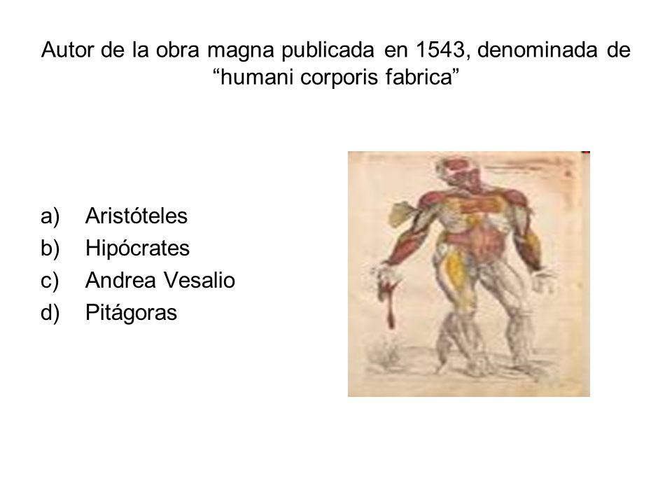 Autor de la obra magna publicada en 1543, denominada de humani corporis fabrica a)Aristóteles b)Hipócrates c)Andrea Vesalio d)Pitágoras