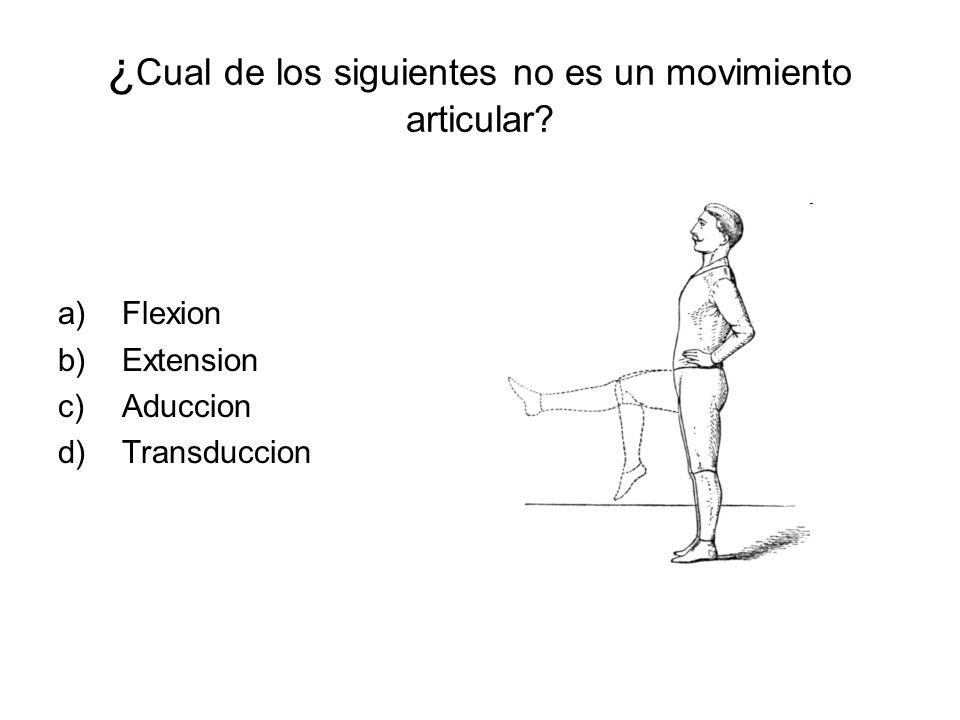 ¿ Cual de los siguientes no es un movimiento articular? a)Flexion b)Extension c)Aduccion d)Transduccion