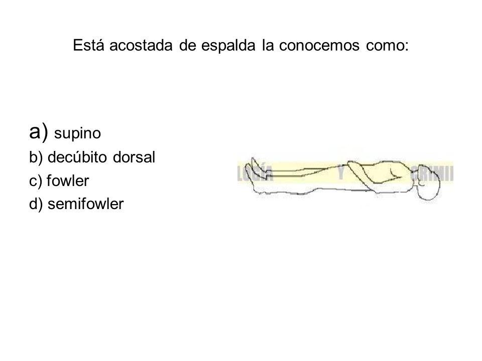 Está acostada de espalda la conocemos como: a) supino b) decúbito dorsal c) fowler d) semifowler