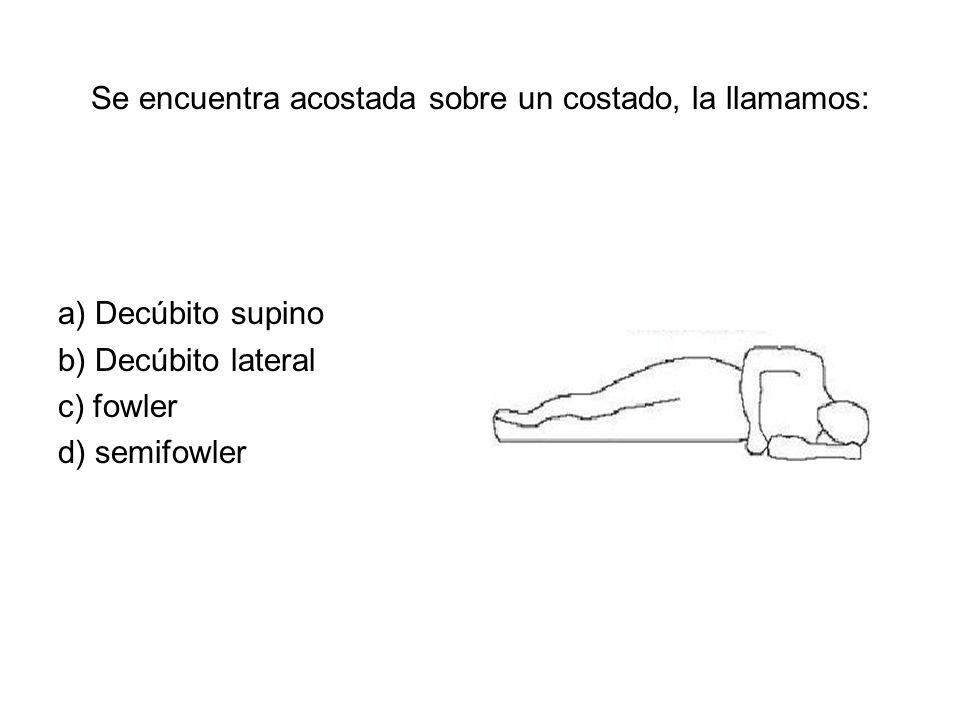 Se encuentra acostada sobre un costado, la llamamos: a) Decúbito supino b) Decúbito lateral c) fowler d) semifowler