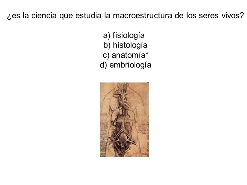 ¿es la ciencia que estudia la macroestructura de los seres vivos? a) fisiología b) histología c) anatomía* d) embriología