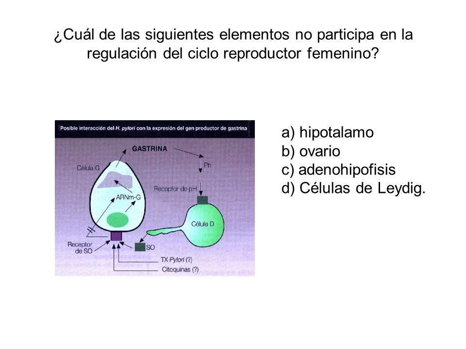 ¿Cuál de las siguientes elementos no participa en la regulación del ciclo reproductor femenino? a) hipotalamo b) ovario c) adenohipofisis d) Células d