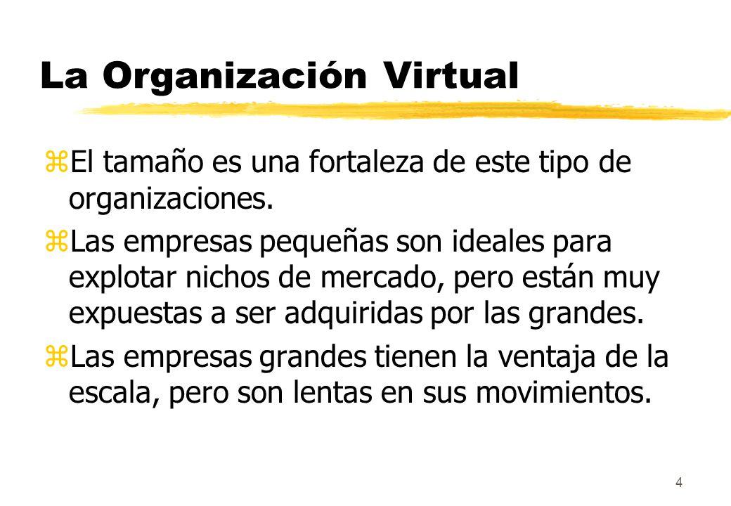 4 La Organización Virtual zEl tamaño es una fortaleza de este tipo de organizaciones. zLas empresas pequeñas son ideales para explotar nichos de merca