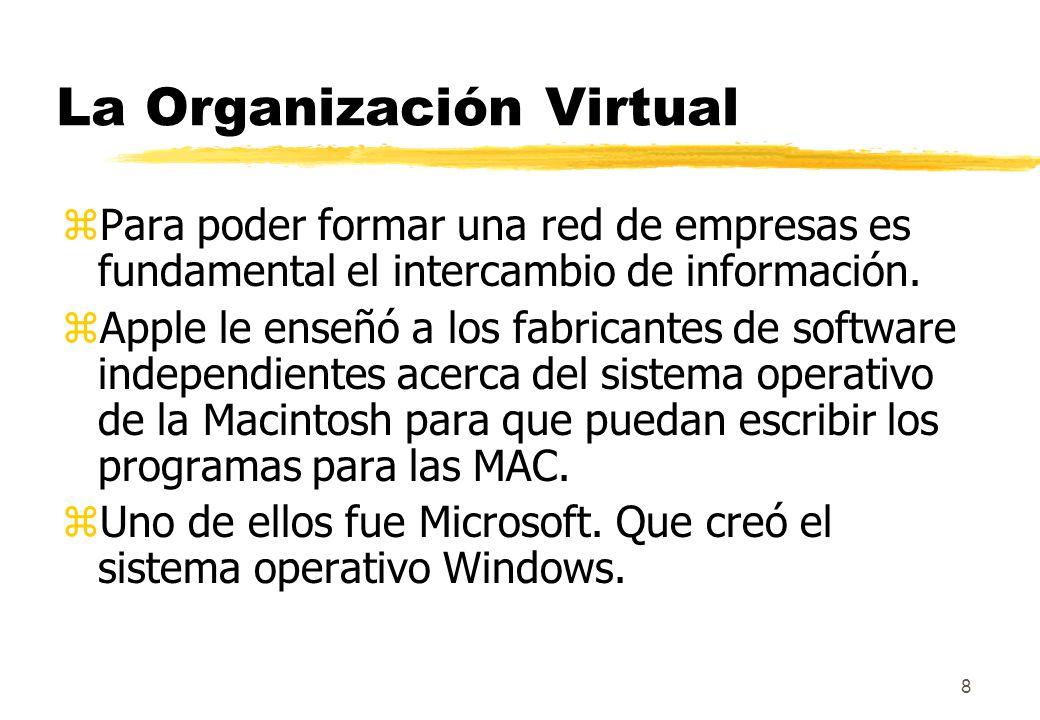 8 La Organización Virtual zPara poder formar una red de empresas es fundamental el intercambio de información. zApple le enseñó a los fabricantes de s