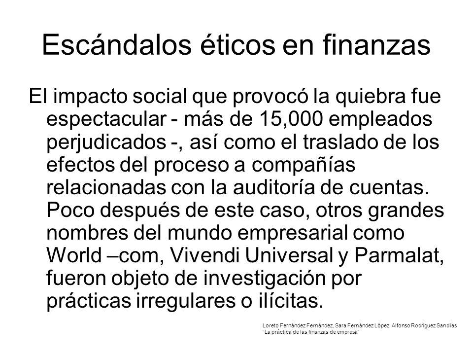 Escándalos éticos en finanzas El impacto social que provocó la quiebra fue espectacular - más de 15,000 empleados perjudicados -, así como el traslado de los efectos del proceso a compañías relacionadas con la auditoría de cuentas.