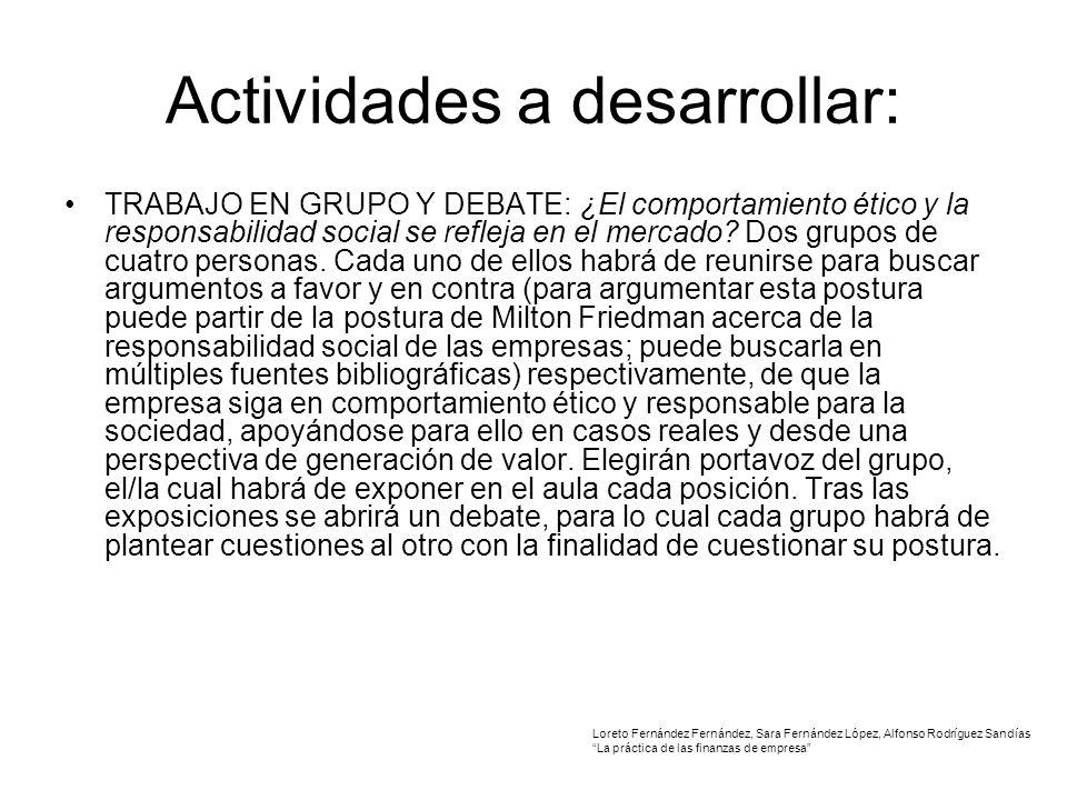 Actividades a desarrollar: TRABAJO EN GRUPO Y DEBATE: ¿El comportamiento ético y la responsabilidad social se refleja en el mercado.