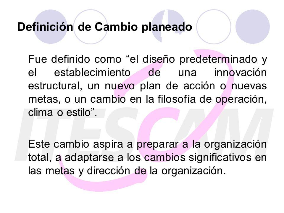 Definición de Cambio planeado Fue definido como el diseño predeterminado y el establecimiento de una innovación estructural, un nuevo plan de acción o
