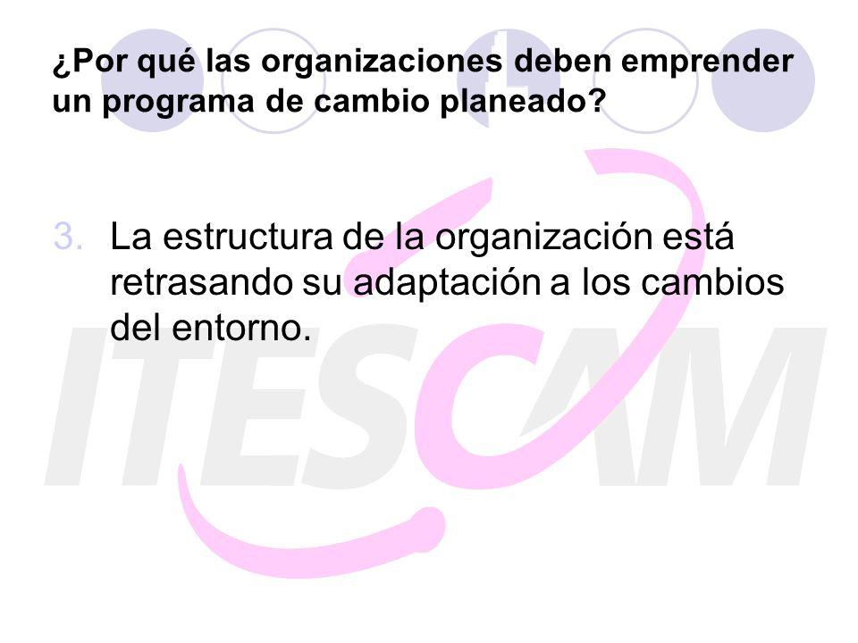 ¿Por qué las organizaciones deben emprender un programa de cambio planeado? 3.La estructura de la organización está retrasando su adaptación a los cam