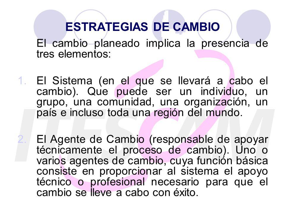 ESTRATEGIAS DE CAMBIO El cambio planeado implica la presencia de tres elementos: 1.El Sistema (en el que se llevará a cabo el cambio). Que puede ser u