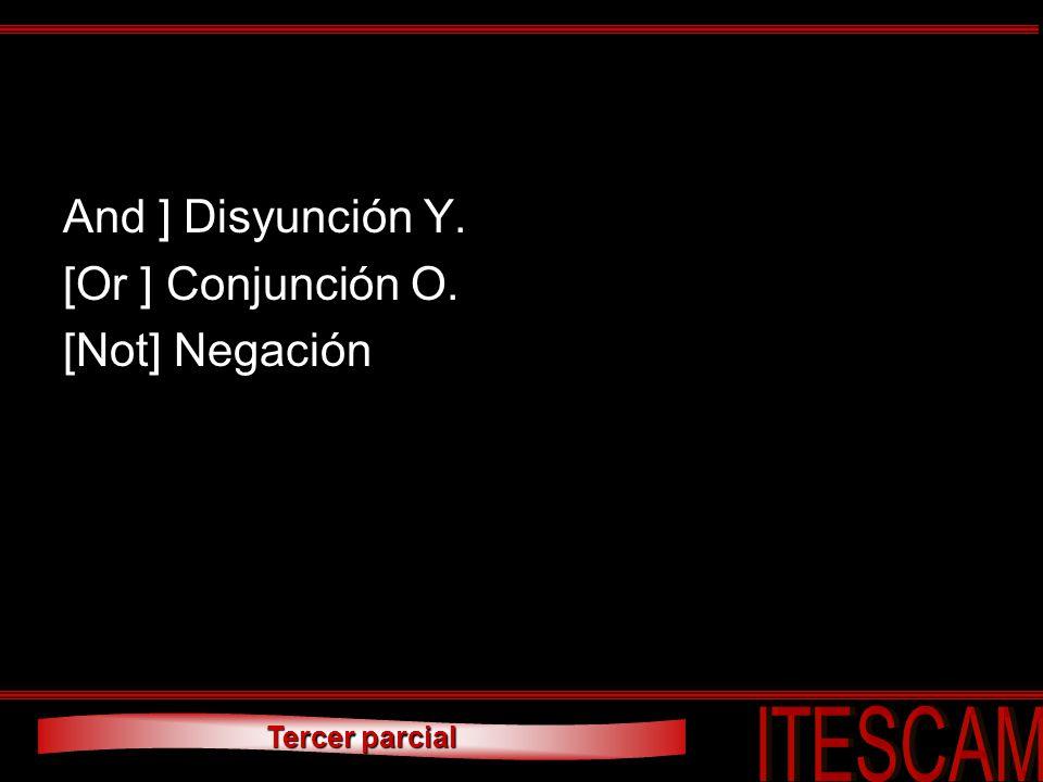 Tercer parcial And ] Disyunción Y. [Or ] Conjunción O. [Not] Negación