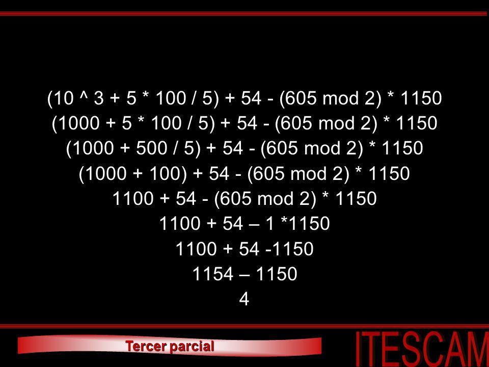 Tercer parcial (10 ^ 3 + 5 * 100 / 5) + 54 - (605 mod 2) * 1150 (1000 + 5 * 100 / 5) + 54 - (605 mod 2) * 1150 (1000 + 500 / 5) + 54 - (605 mod 2) * 1