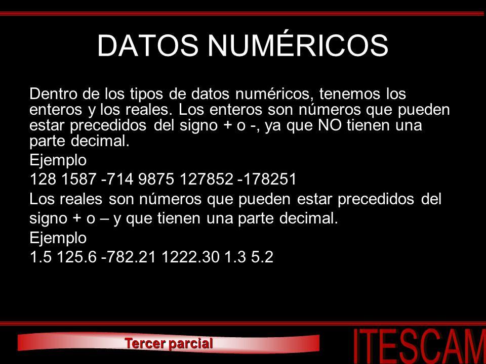 Tercer parcial DATOS NUMÉRICOS Dentro de los tipos de datos numéricos, tenemos los enteros y los reales. Los enteros son números que pueden estar prec