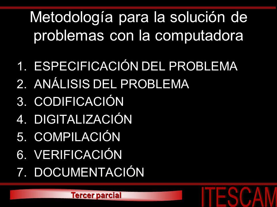 Metodología para la solución de problemas con la computadora 1.ESPECIFICACIÓN DEL PROBLEMA 2.ANÁLISIS DEL PROBLEMA 3.CODIFICACIÓN 4.DIGITALIZACIÓN 5.C