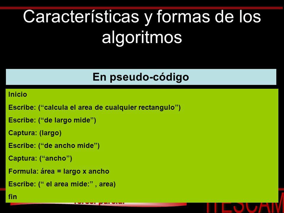 Tercer parcial Características y formas de los algoritmos En pseudo-código Inicio Escribe: (calcula el area de cualquier rectangulo) Escribe: (de larg