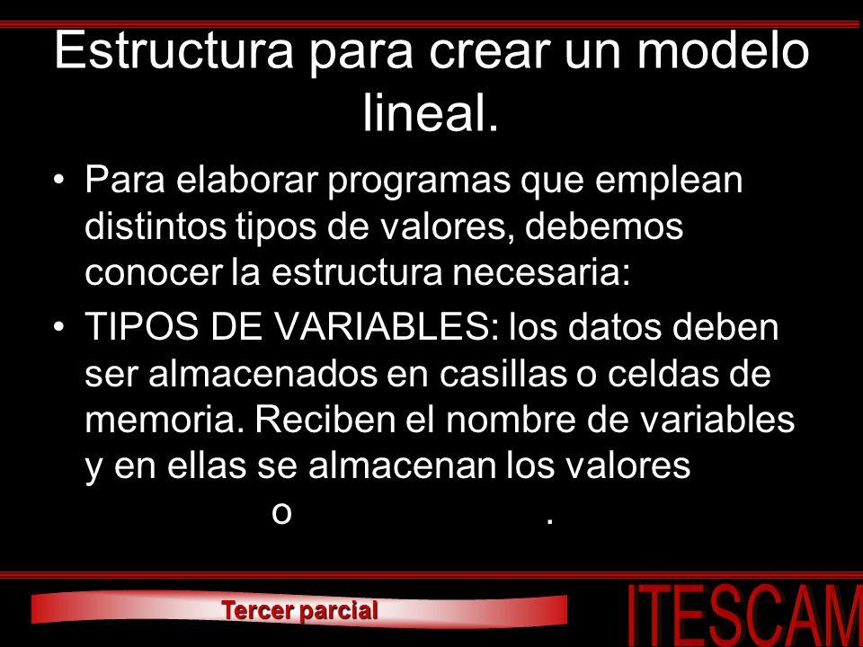 Tercer parcial Estructura para crear un modelo lineal. Para elaborar programas que emplean distintos tipos de valores, debemos conocer la estructura n