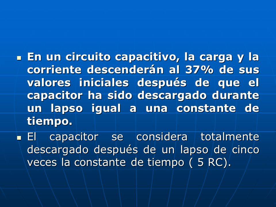 En un circuito capacitivo, la carga y la corriente descenderán al 37% de sus valores iniciales después de que el capacitor ha sido descargado durante un lapso igual a una constante de tiempo.