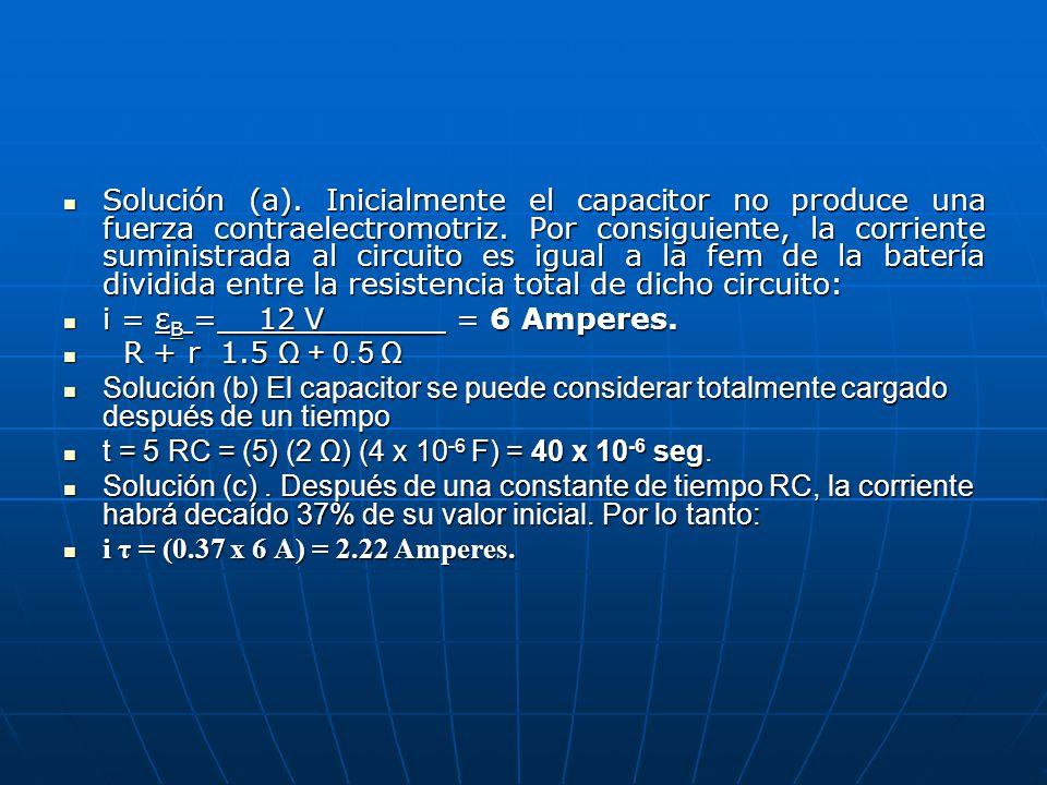 Solución (a). Inicialmente el capacitor no produce una fuerza contraelectromotriz. Por consiguiente, la corriente suministrada al circuito es igual a