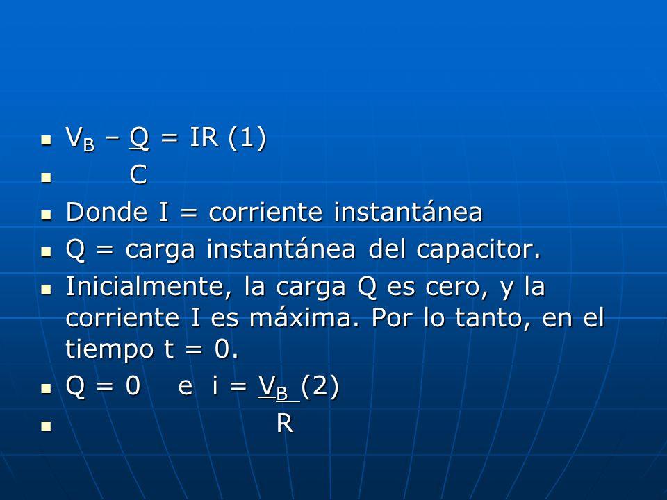 V B – Q = IR (1) V B – Q = IR (1) C C Donde I = corriente instantánea Donde I = corriente instantánea Q = carga instantánea del capacitor. Q = carga i