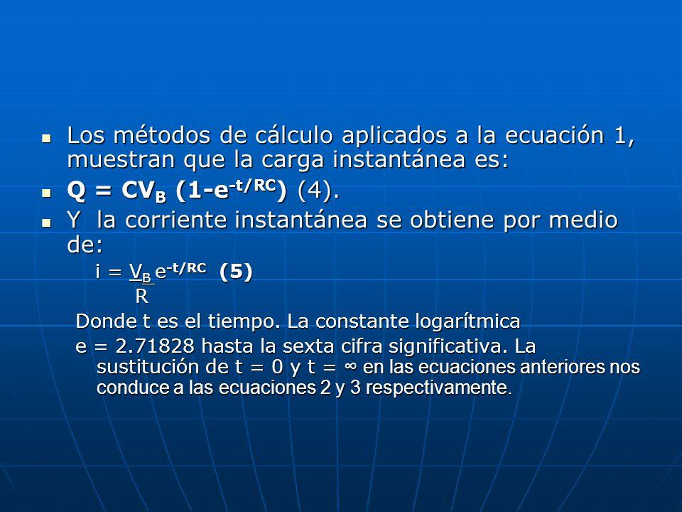 Los métodos de cálculo aplicados a la ecuación 1, muestran que la carga instantánea es: Los métodos de cálculo aplicados a la ecuación 1, muestran que la carga instantánea es: Q = CV B (1-e -t/RC ) (4).