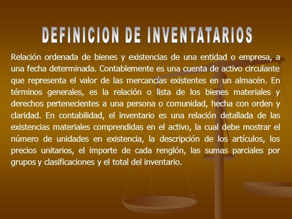 Relación ordenada de bienes y existencias de una entidad o empresa, a una fecha determinada.