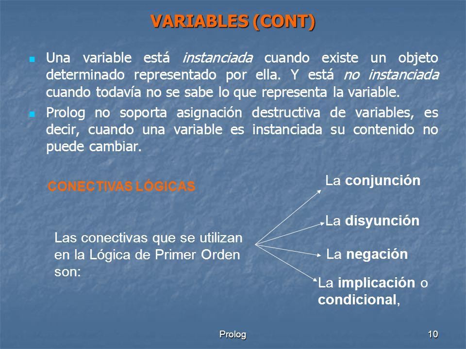 Prolog10 VARIABLES (CONT) Una variable está instanciada cuando existe un objeto determinado representado por ella.