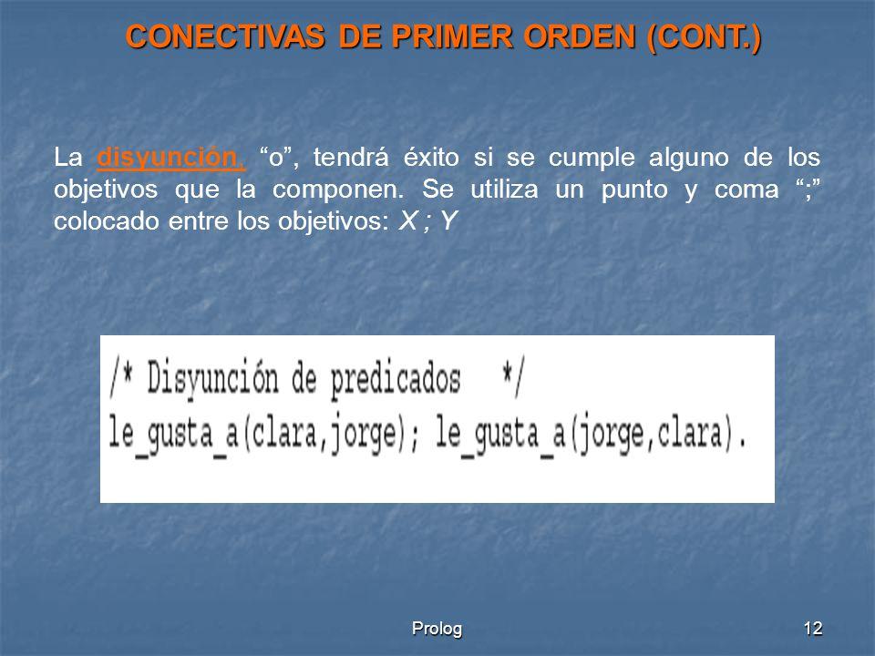 Prolog12 La disyunción, o, tendrá éxito si se cumple alguno de los objetivos que la componen.