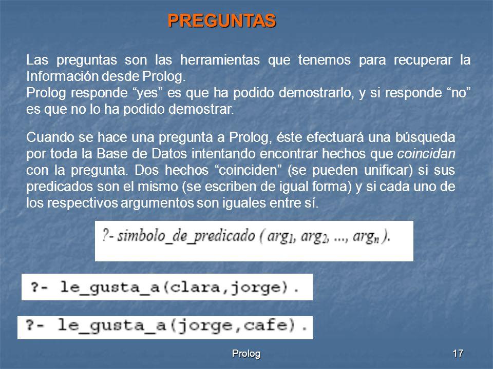 Prolog17 PREGUNTAS Las preguntas son las herramientas que tenemos para recuperar la Información desde Prolog.