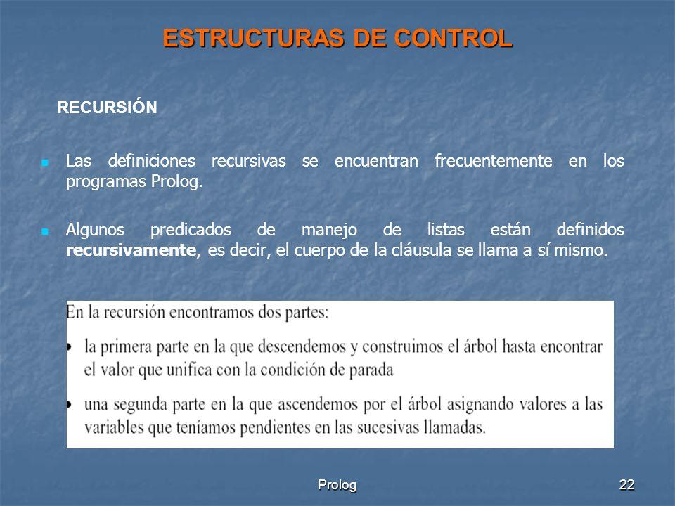 Prolog22 ESTRUCTURAS DE CONTROL Las definiciones recursivas se encuentran frecuentemente en los programas Prolog.