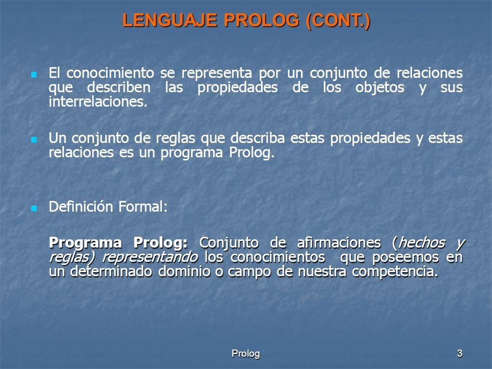 Prolog3 El conocimiento se representa por un conjunto de relaciones que describen las propiedades de los objetos y sus interrelaciones.