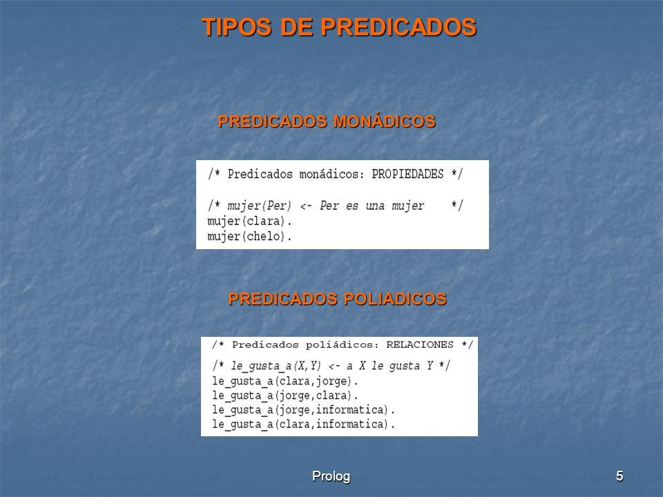 Prolog5 PREDICADOS MONÁDICOS PREDICADOS POLIADICOS TIPOS DE PREDICADOS