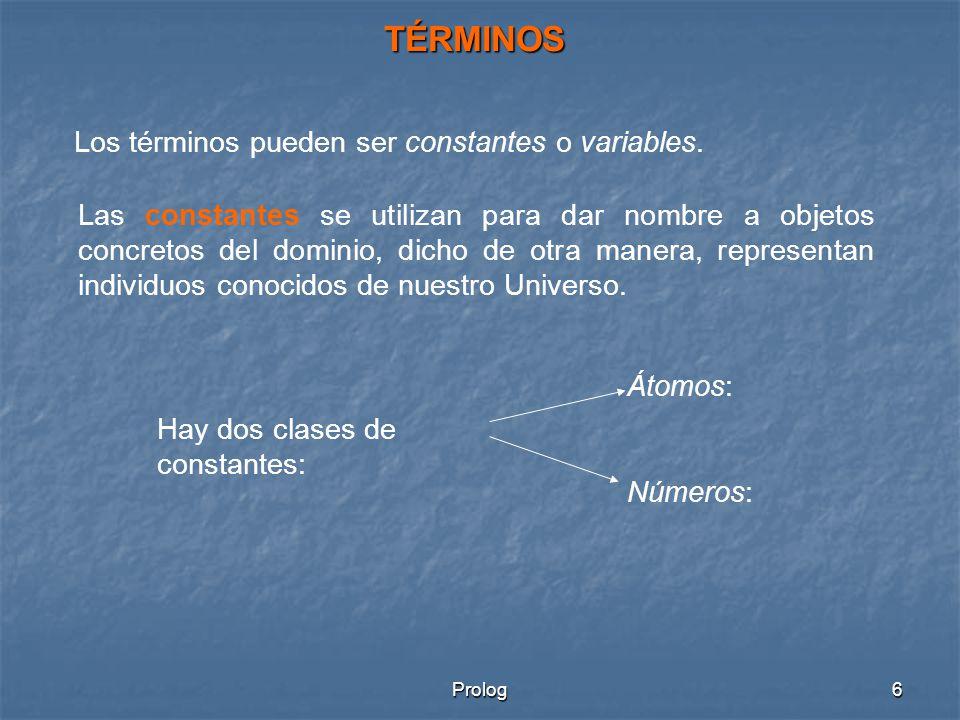 Prolog7 Átomos: existen tres clases de constantes atómicas: - Cadenas de letras, dígitos y subrayado (_) empezando por letra minúscula.