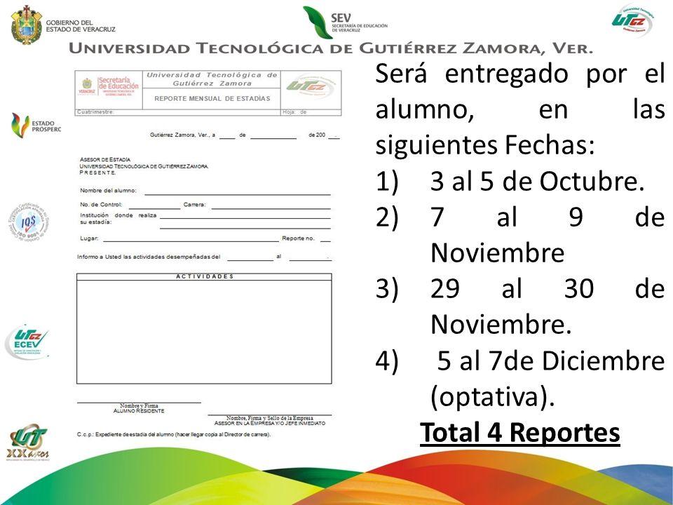 Será entregado por el alumno, en las siguientes Fechas: 1)3 al 5 de Octubre. 2)7 al 9 de Noviembre 3)29 al 30 de Noviembre. 4) 5 al 7de Diciembre (opt