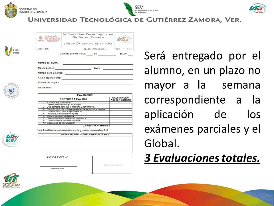 Será entregado por el alumno, en un plazo no mayor a la semana correspondiente a la aplicación de los exámenes parciales y el Global. 3 Evaluaciones t