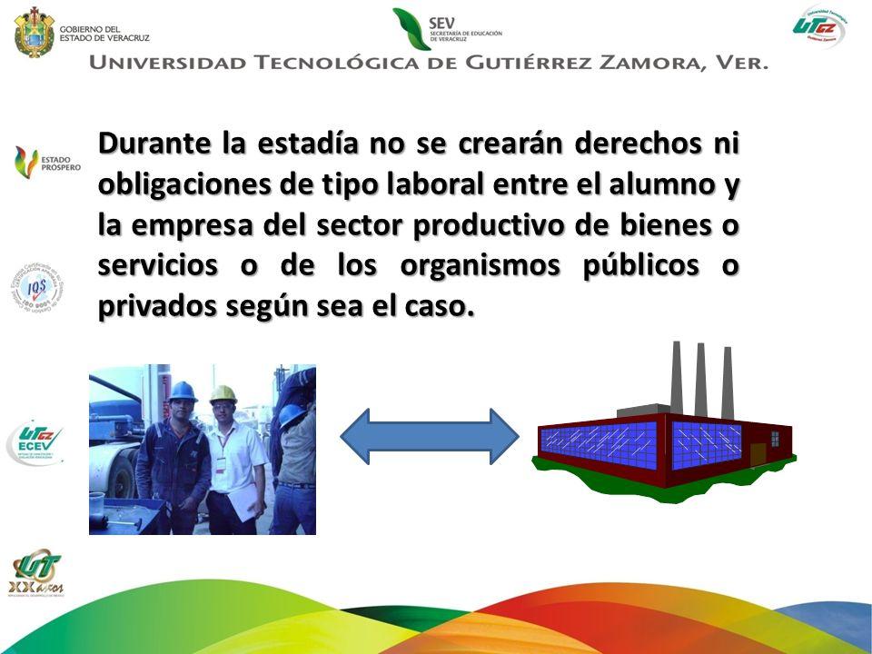 Durante la estadía no se crearán derechos ni obligaciones de tipo laboral entre el alumno y la empresa del sector productivo de bienes o servicios o d