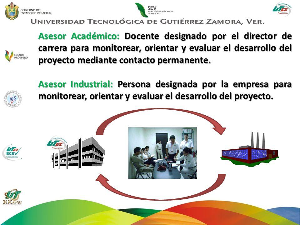 Asesor Académico: Docente designado por el director de carrera para monitorear, orientar y evaluar el desarrollo del proyecto mediante contacto perman
