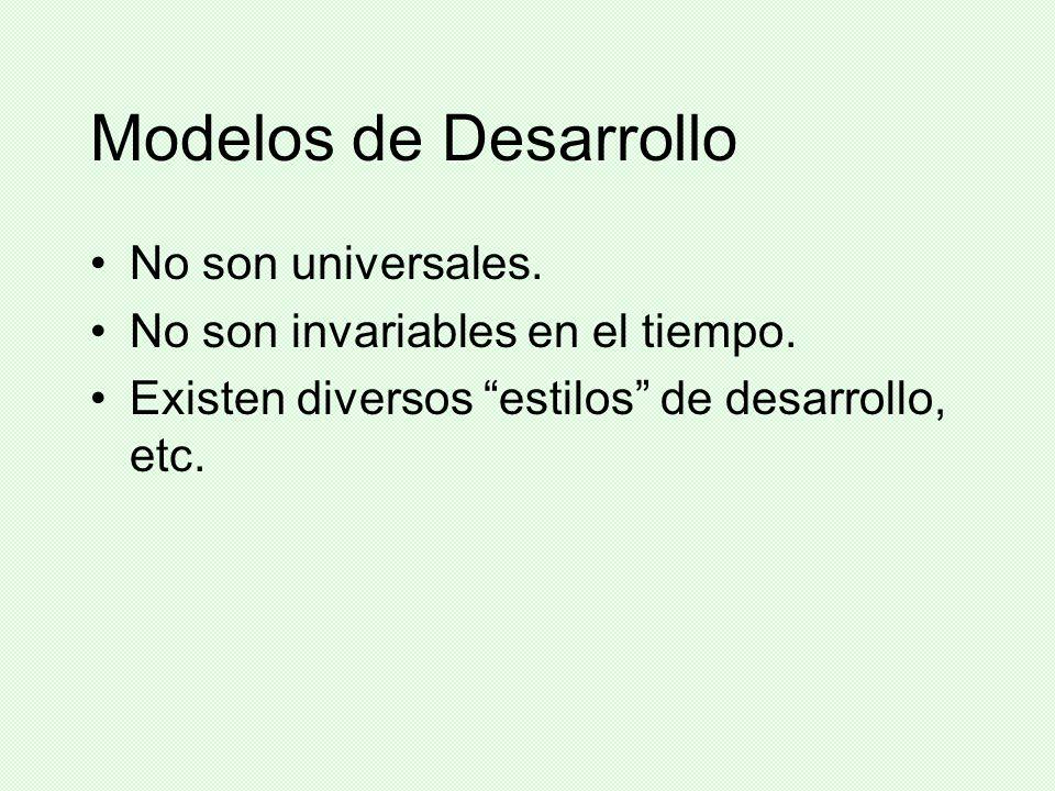Modelos de Desarrollo No son universales. No son invariables en el tiempo. Existen diversos estilos de desarrollo, etc.