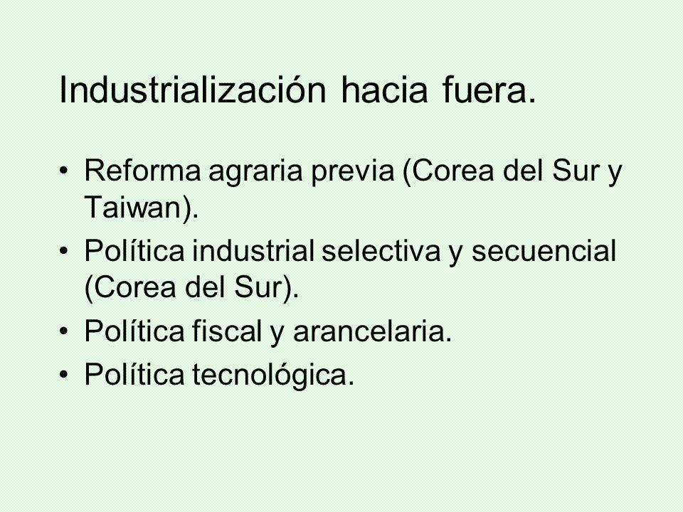 Industrialización hacia fuera. Reforma agraria previa (Corea del Sur y Taiwan). Política industrial selectiva y secuencial (Corea del Sur). Política f