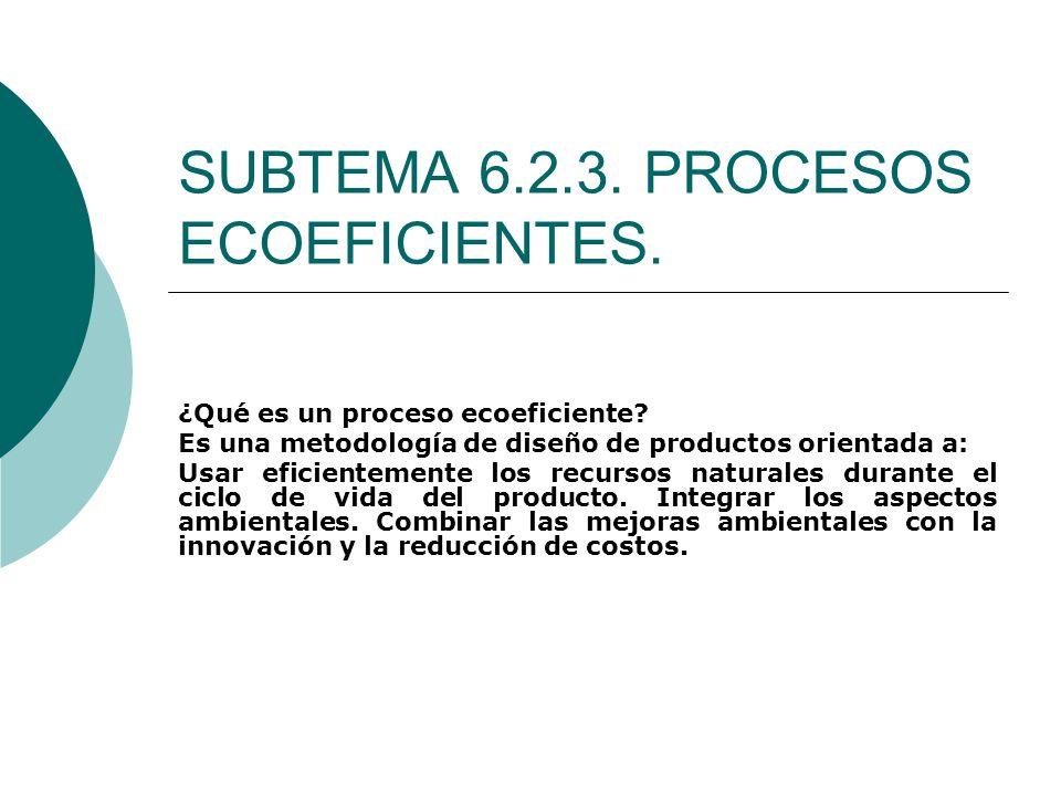 SUBTEMA 6.2.3. PROCESOS ECOEFICIENTES. ¿Qué es un proceso ecoeficiente? Es una metodología de diseño de productos orientada a: Usar eficientemente los