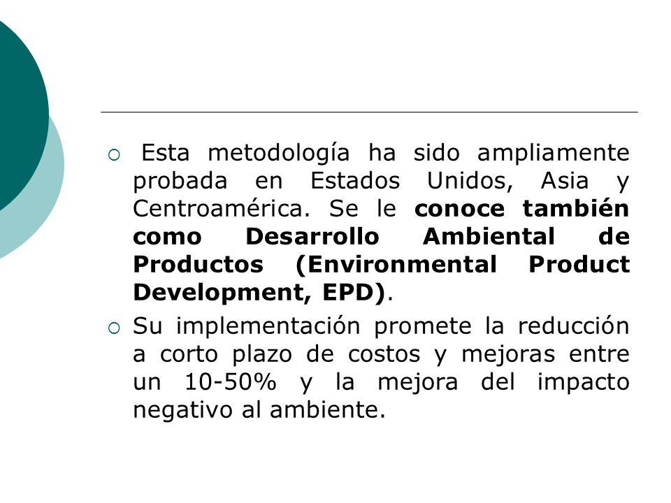 Esta metodología ha sido ampliamente probada en Estados Unidos, Asia y Centroamérica. Se le conoce también como Desarrollo Ambiental de Productos (Env