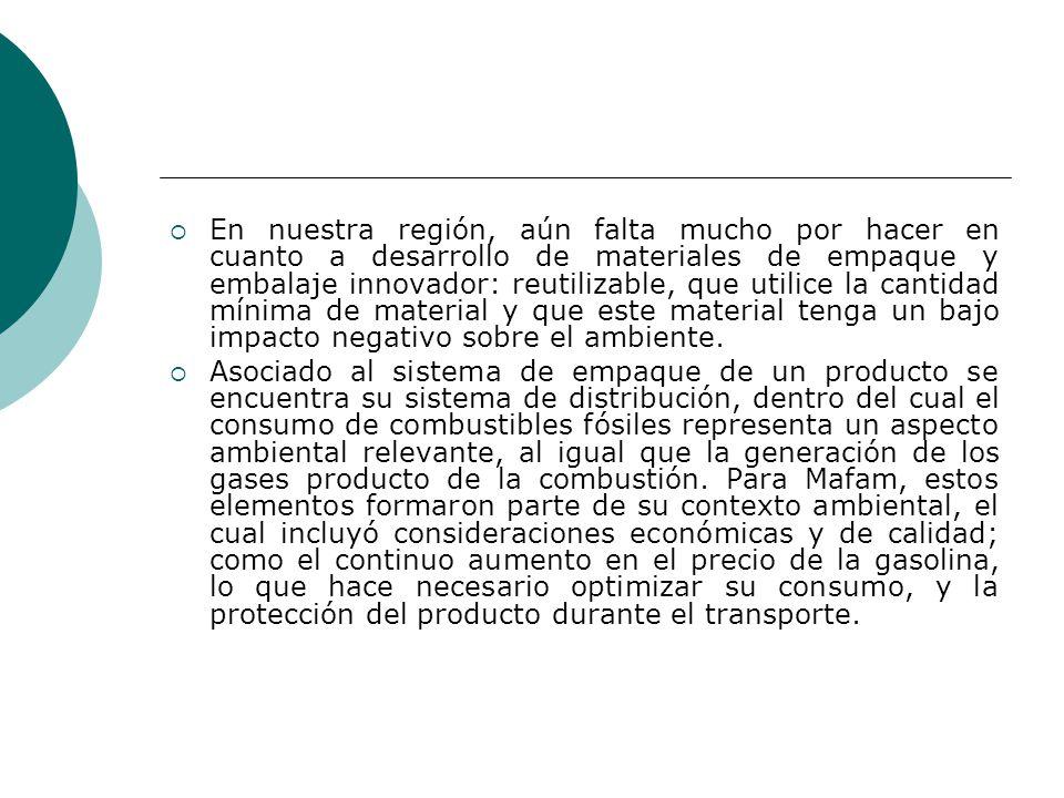 En nuestra región, aún falta mucho por hacer en cuanto a desarrollo de materiales de empaque y embalaje innovador: reutilizable, que utilice la cantid