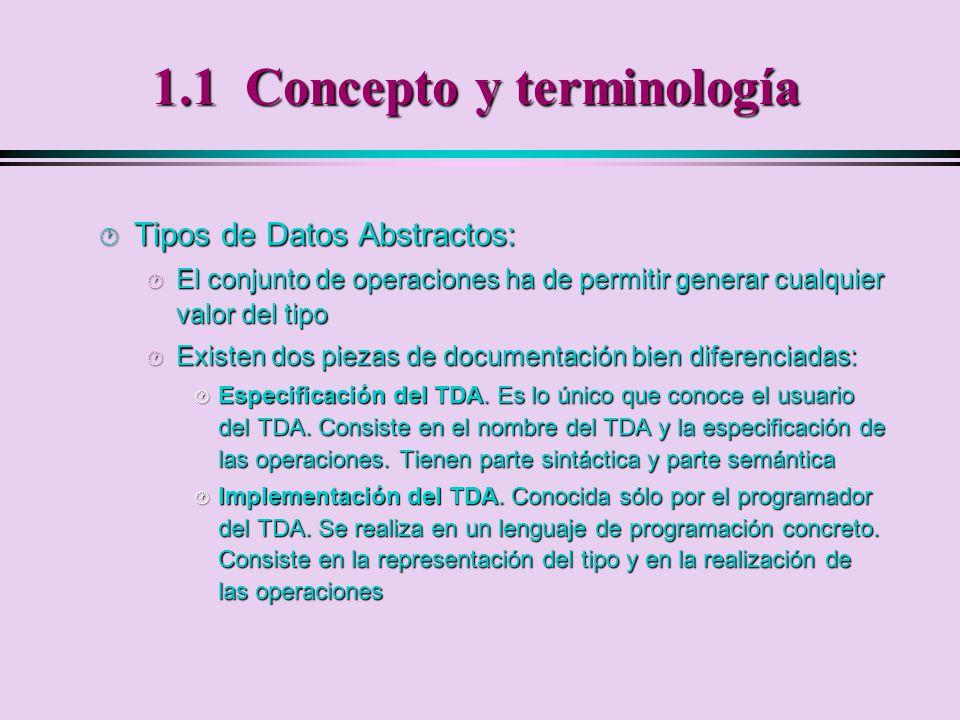 1.1 Concepto y terminología · Tipos de datos abstractos: · Se destacan los detalles (normalmente pocos) del comportamiento observable del tipo, que es estable.